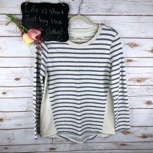 Per Se Sport stripe hi low cotton sweatshirt